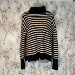 GAP Turtleneck Black White Striped Sweater